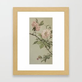 Vintage Flower and Bee Framed Art Print