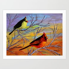 Birds on the birch tree Art Print