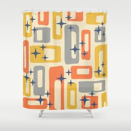 Retro Mid Century Modern Abstract Pattern 278 Yellow Orange Gray Shower Curtain