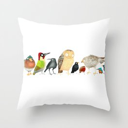 Woodland Bird Collection in white Throw Pillow