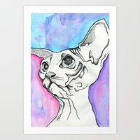 psych Art Prints featuring Psych Sphinx by Szilvia Lucas