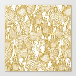 just chickens gold white Canvas Print