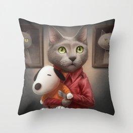 A cat holding a stuffed dog Throw Pillow