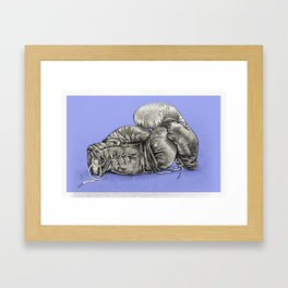 Boxing gloves blue Framed Art Print