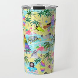 Aloha Hawaiian Tropical mermaid , flamingos, yoga floats floral Travel Mug