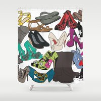 shoes Shower Curtains featuring Shoes by xDiNKix