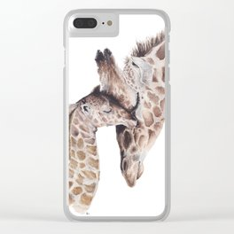Giraffe and baby Clear iPhone Case