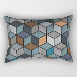 Colorful Concrete Cubes - Blue, Grey, Brown Rectangular Pillow