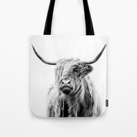 lucy Tote Bags featuring portrait of a highland cow by Dorit Fuhg