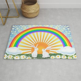 rainbow, sunshine, bunnies, & daisies Rug