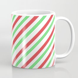 Red and Green Candy Cane Stripes Coffee Mug
