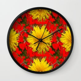 YELLOW DANDELION BLOSSOMS ON RED ORGANIC ART Wall Clock