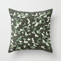 camo Throw Pillows featuring CAMO by Brukk