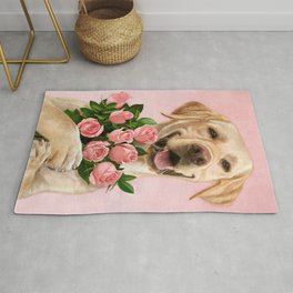 Happy Dog with Roses Rug