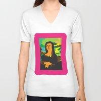 mona lisa V-neck T-shirts featuring Mona Lisa by John Sailor