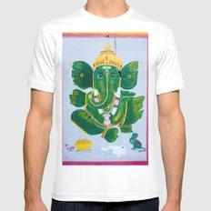 Pan Leaf Ganesh MEDIUM Mens Fitted Tee White