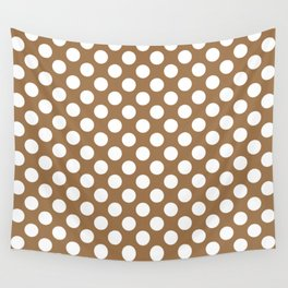 Brown and white polka dots Wall Tapestry