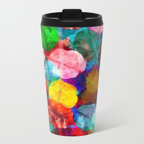 Leaf mosaic(26). Metal Travel Mug