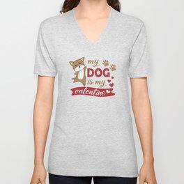 My Dog Is My Valentine Brown Dogs Cute Animals Unisex V-Neck