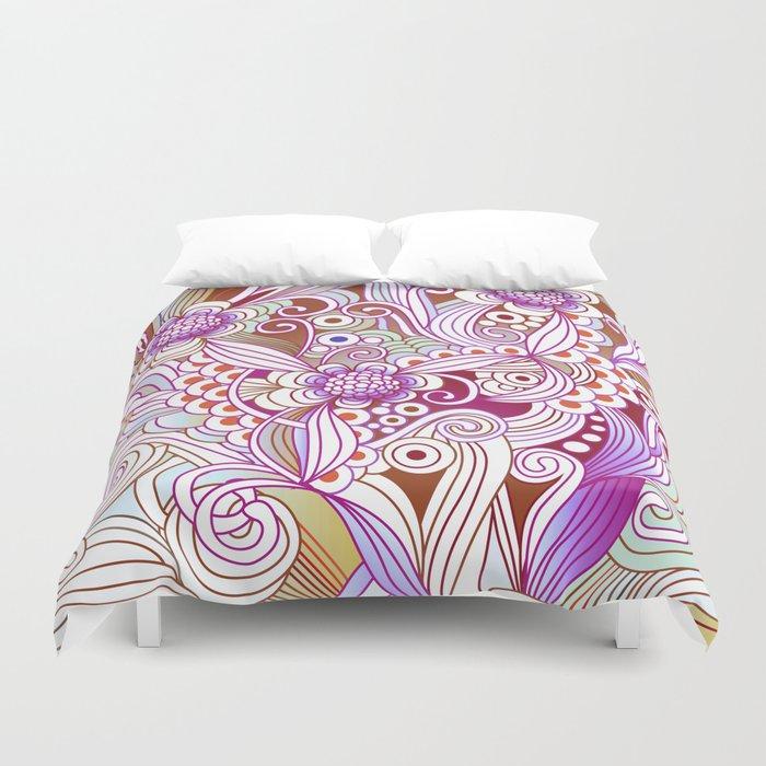 zentangle inspired Flower fire doodle, purple colorway Duvet Cover