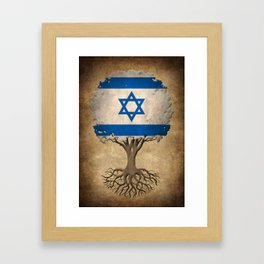 Vintage Tree of Life with Flag of Israel Framed Art Print