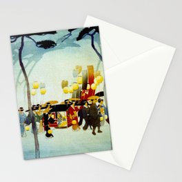 Japanese Covered Litter and Lanterns Stationery Cards