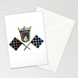 Vintage 1955 Thunderbird Emblem Badge with Checkered Flags Sharp PNG Stationery Cards