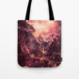 Galaxy Mountains : Mauve Burgundy Tote Bag