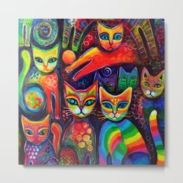 Rainbow cats Metal Print