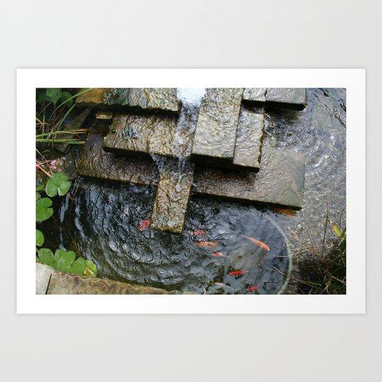 Fountain and Koi Art Print