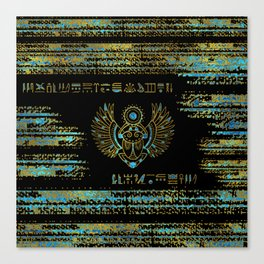 Egyptian Scarab Beetle Gold and blue stained glass Canvas Print