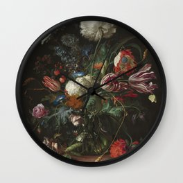 Jan Davidsz de Heem - Vase of Flowers (c.1660) Wall Clock