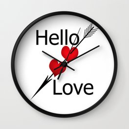 Hello love! White background . Wall Clock