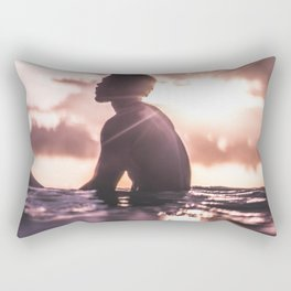 UNRECOGNIZABLE - BLACK - MAN - RELAXING - IN - SEA - WATER - AT - SUNDOWN - PHOTOGRAPHY Rectangular Pillow