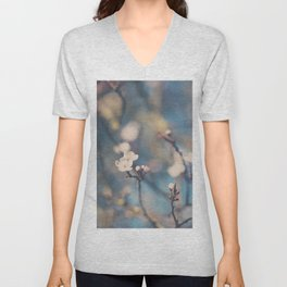 white apple blossom flowers on a beautiful spring day! Unisex V-Neck