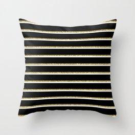 Black Gold White Stripe Pattern 2 Throw Pillow