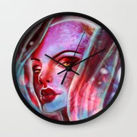 jenny liz rome Wall Clocks featuring Liz by cgkaitlin