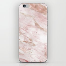 Pink marble - rose gold accents iPhone Skin