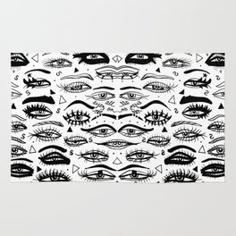 All Eyez on Me- Black and White Ink Drawing Rug