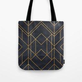 Black & Gold Geometric Art Deco Pattern Seamless Vintage Glamorous 1920s Style Tote Bag
