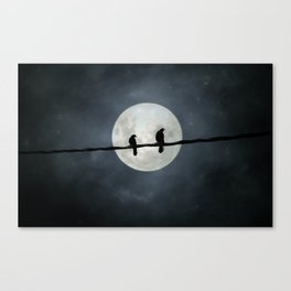 Two Crows In The Light Of A Silvery Moon Canvas Print