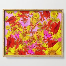 AWESOME RED AMARYLLIS & YELLOW COREOPSIS RED ABSTRACT GARDEN Serving Tray