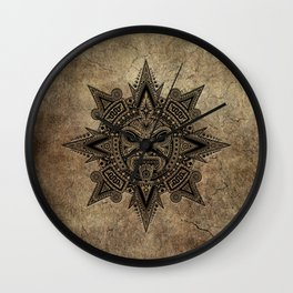 Ancient Stone Mayan Sun Mask Wall Clock