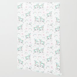 Standing tall Unicorn on cloud and heart pattern Wallpaper
