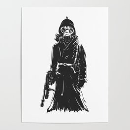 Grim reaper with gas mask,and weapon , military death illustration , gothic skull cartoon Poster