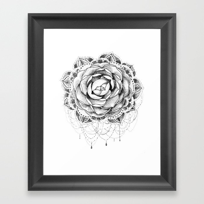 b81e3d59f Camellia Dotwork Mandala Framed Art Print by robinelizabethart ...