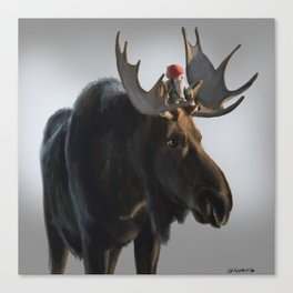 Winter Gnome on Moose Canvas Print
