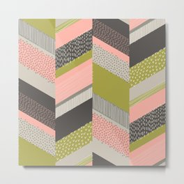 Chevron with Textures / Rose and Green Metal Print