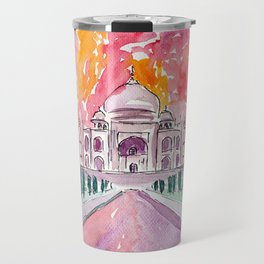 Taj Mahal - Colorful Crown of the Palace and Love Travel Mug