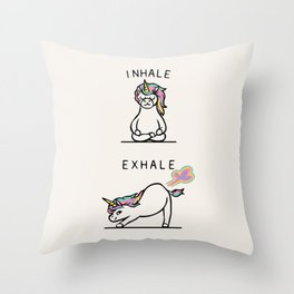 Inhale Exhale Unicorn Throw Pillow